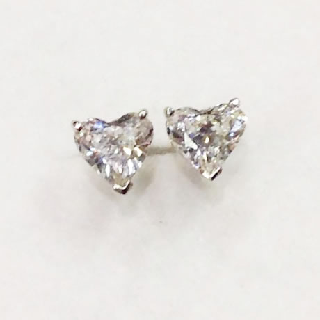 Heart Cut Diamond Stud Earrings
