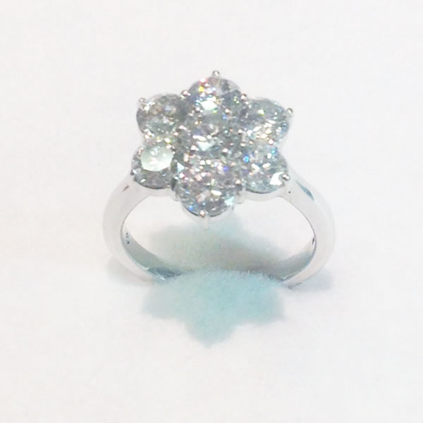 white gold diamond flower cluster ring