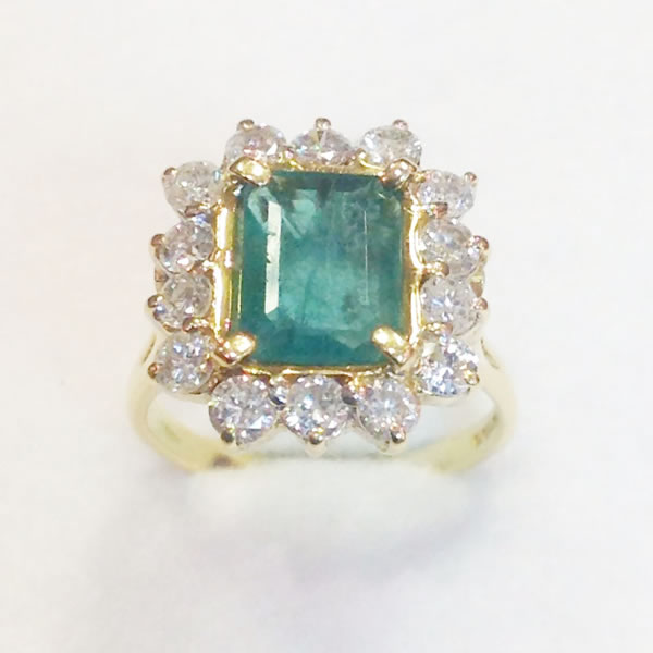 Yellow Gold Emerald & Diamond Cluster Ring
