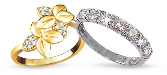 gold ring platinum ring diamonds